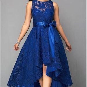 New Elegant High Low Royal Blue Lace Dress LARGE